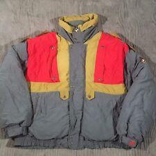 Vtg 80s Triple FAT Goose Mens XL Down Feather Coat Jacket Color Block Whistle