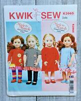 McCalls Kwik Sew K3965 Sewing Pattern 18 inch Girl Doll Clothes Dress Leggings