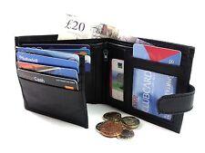 Para hombre de alta calidad genuino cuero Negro Capacidad 12 Tarjetas De Crédito Billetera Monedero