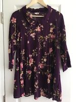 urban renewal Vintage Fabric Purple Floral Dress A-line Collar 3/4 Sleeves Small