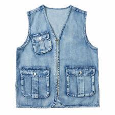 Men Denim Vest Jeans Multi Pocket Utility Waistcoat Sleeveless Zip Up Jacket