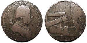 UK Warwickshire John Wilkinson Iron Master Halfpenny Token 1790, D&H 387