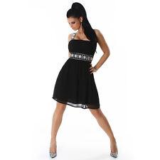 SEXY abito vestito monospalla NERO elegante maxi STRASS taglia M fashion GLAMOUR
