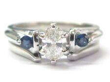 Fine Marquise Diamond & Sapphire Engagement Wedding Set .70CT