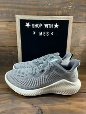 Adidas Alphabounce+ Men Running Shoes Boost Grey Silver Metallic EF12290- NEW
