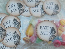 Alice in Wonderland set of 12 Vintage Style Eat Me Labels with sweet bags