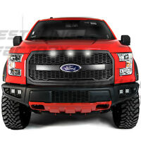 Raptor Matte Black Mesh Grille w/Emblem Housing+White LED for 15-17 Ford F150