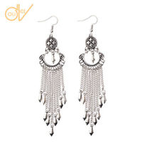 Hot Vintage Bohemian Boho Style Silver Long Tassel Drop Dangle Women's Earrings