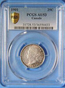 1901 Canada Victoria 25 Twenty Five Cents Silver Coin PCGS Graded AU53