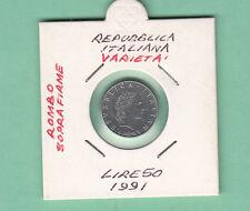 RARA  MONETA FDC  DA set ZECCA VARIETA'  LIRE 50 1991 CON ROMBO SOPRA FIRMA