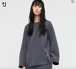 NWT Uniqlo +J Jill Sander Women Crew Neck Sweatshirt Size M Dark Gray
