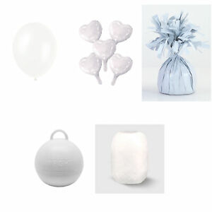 White Balloons Wedding Latex Foil Hearts Weight Curling Ribbon