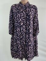 NEXT pink black animal leopard print shirt dress size 16 euro 44
