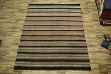 Hand Knotted Striped Design Blue Modern 8x10 Gabbeh India Oriental Area Rug Wool