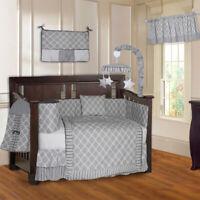 BabyFad 10 Piece Clover Gray Baby Crib Bedding set