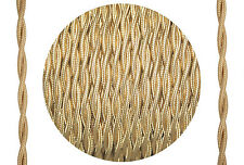 Textil-Kabel verseilt Leitung 2x0,75 gold-farbig Synthetik einzelummantelt D0658
