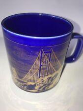 COMMEMORATIVE 1981 HUMBER BRIDGE - HORNSEA POTTERY BLUE AND GOLD MUG