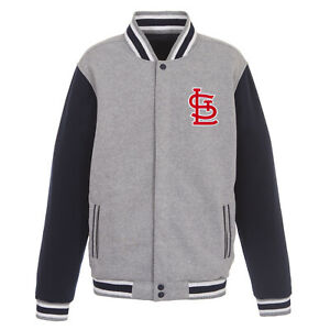MLB St. Louis Cardinals Reversible Full Snap Fleece Jacket JH Design Front logos