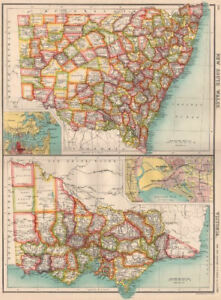 NEW SOUTH WALES & VICTORIA. Counties. Melbourne & Sydney. Australia 1901 map