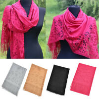 Women's Winter Warm Lace Floral Solid Fringe Long Pashmina Shawl Wrap Scarf