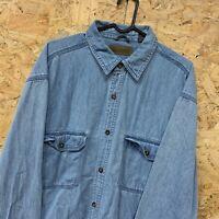FADED GLORY Mens Vintage Long Sleeve Denim Shirt Size Large L (42/44)