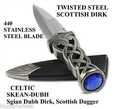 "Celtic Scottish Knotted Sgian Skean Dubh Dirk Dagger 9"" Knife Blue Jewel"