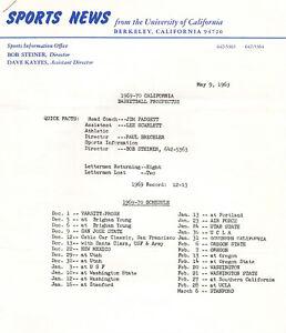 1969--CALIFORNIA GOLDEN BEARS--BASKETBALL PROSPECTUS--XLNT