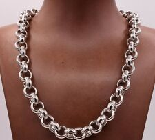 12mm Rolo Circle Charm Chain Necklace All Shiny 14K White Gold Clad Silver 925