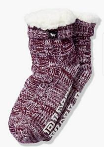 Victoria's Secret Pink Sherpa Fleece Socks Red Pepper Chalk Rose Gray Plum NIP