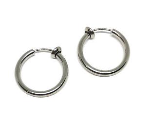 clip on earring hoops stainless steel 18mm earclips non pierced hypoallergenic