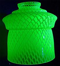 STUNNING VINTAGE URANIUM GREEN GLASS CEILING LAMP LIGHT SHADE 13cm HIGH