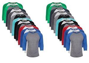 Next Level Mens Ladies Unisex Tri Blend 3/4 Sleeve Raglan T Shirt Top Tee XS-3XL