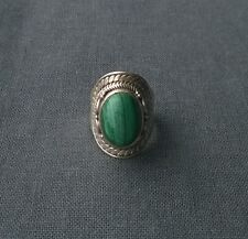 100% GENUINE SOLID sterling silver BALI STYLE Malachite cabochon ring size M 1/2
