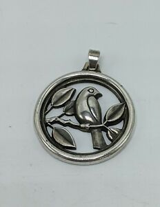 """James Avery Bird On A Branch 1"""" Circle Rare Retired Pendant Sterling Silver 925"""