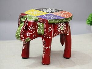 Indian Handmade Wooden Elephant Shape RED Color Decor Side Table Statue Table