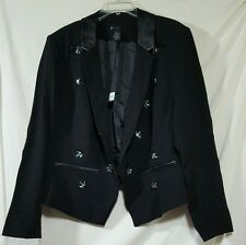 LANE BRYANT Blazer Tailored Jacket Suitcoat Sequin & Faux Leather 26 NWT $129