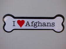 "I Heart (Love) Afghans Dog Bone Car/Fridge Magnet 2""x7"" Usa Made Waterproof"