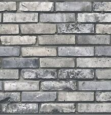 Exclusive Wallcoverings Gray Brick Wall Paper 56 sq ft