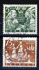 SWEDEN 1938 300th. Anniversary New Sweden USA Set Perf 12½ SG 203a & SG 204a VFU