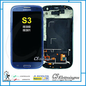 SAMSUNG GALAXY S3 I9300 S3 NEO I9301 RICAMBIO DISPLAY LCD + TOUCH + FRAME BLU