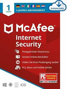 McAfee Internet Security 2021 - 1 PC / Gerät / 1 Jahr/ Antivirus Software/