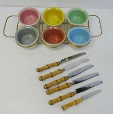 mid century design 60s - V&B 6 kl. Snack Schalen und Bambus Messer Set  ~ 60er