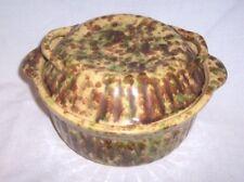 Antique BROWN GREEN BEIGE HANDLED CASSEROLE ROASTING Spongeware Stoneware W LID