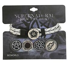 Supernatural Interchangeable Charms Silver Braided Cord Bracelet Gift NWT!