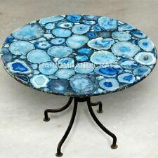 Marble Round Coffee Table Top Blue Precious Agate Work Patio Decorative E1335