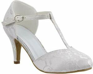 LADIES IVORY LACE EMBELLISHED MID HEEL T-BAR ANKLE STRAP WEDDING SHOES SIZE 3-8