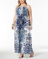 INC International Concepts Womens Blue White Embellished Paisley Maxi Dress 3X