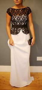Mikael Aghal Black and While Lace and Gown long dress size 8 wedding guest