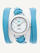 Wedgewood Silver Saturn Wrap WATCH La Mer Collections Womens Blue Leather  Boxed