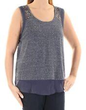 EYESHAWDOW CLOTHING New 1157 Blue Speckle Beaded Rhinestone Slitted Top L B+B